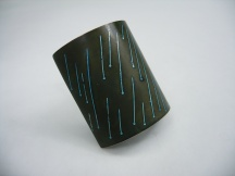 Spring Shower - brooch, patinated copper & silver inlay