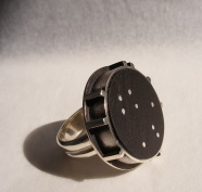 Milky Way - Ring 2 - silver, ebony wood