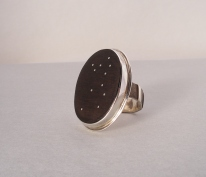 Milky Way - Ring 1 - silver, ebony wood