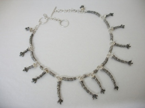 Thirteen Cherry Tree Branches - necklace - silver, cast