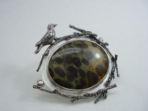 Fulfilment - pendant - silver, jasper, fabricated, cast