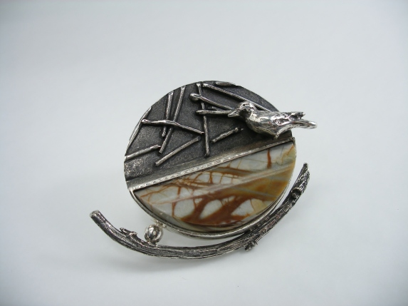 Yearning - pendant - silver, Picasso stone, fabricated, fused, cast