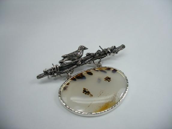 Anticipation - pendant - silver, Montana agate, fabricated, fused, cast