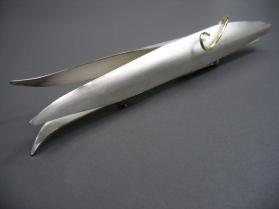 Seed Pod (pisum sativus) - brooch - silver, 18 k gold, fabricated, roll-printed