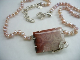 Cherry Blossom - necklace - silver, freshwater pearls, coral, fabricated, cast